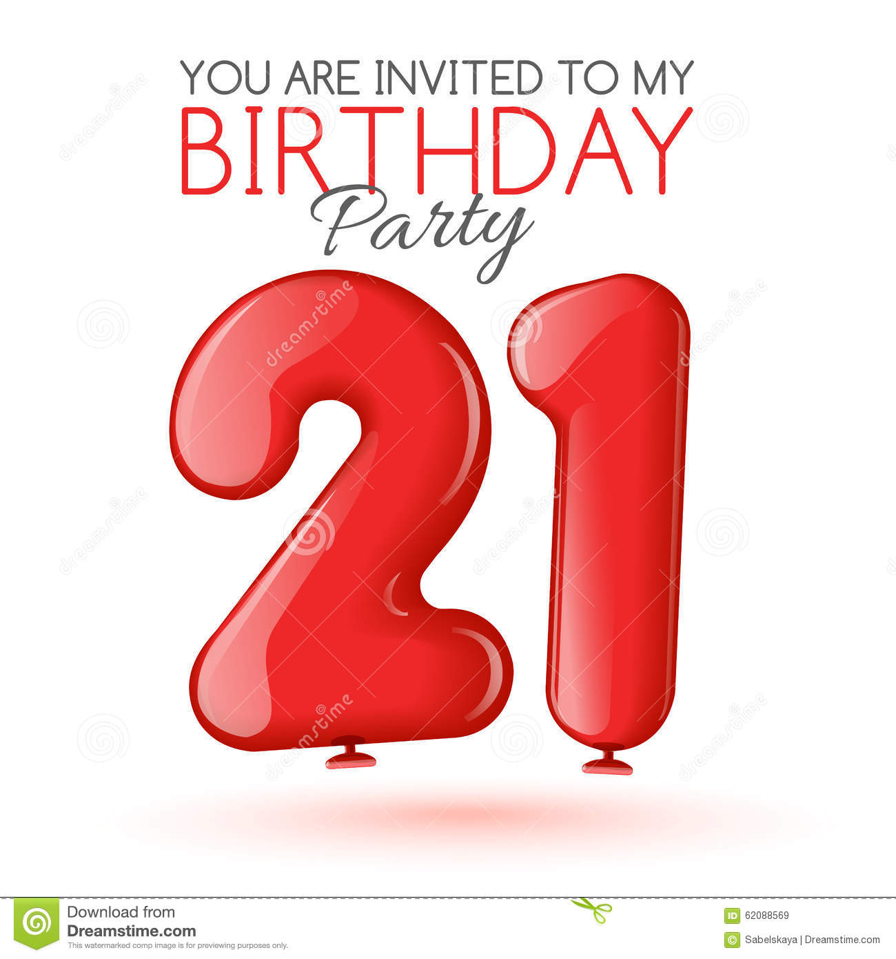 Invitation Card For The Celebration Of 21 Years Stock