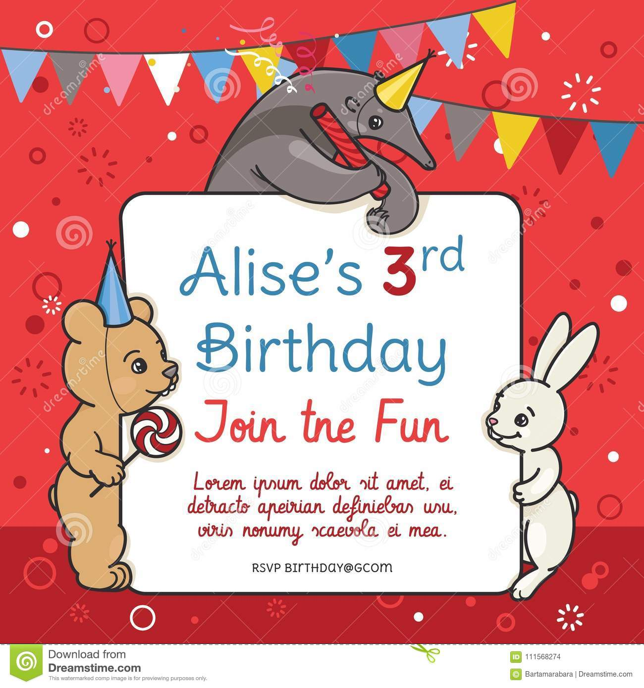 Invitation Card For Children S Birthday Party Stock Vector