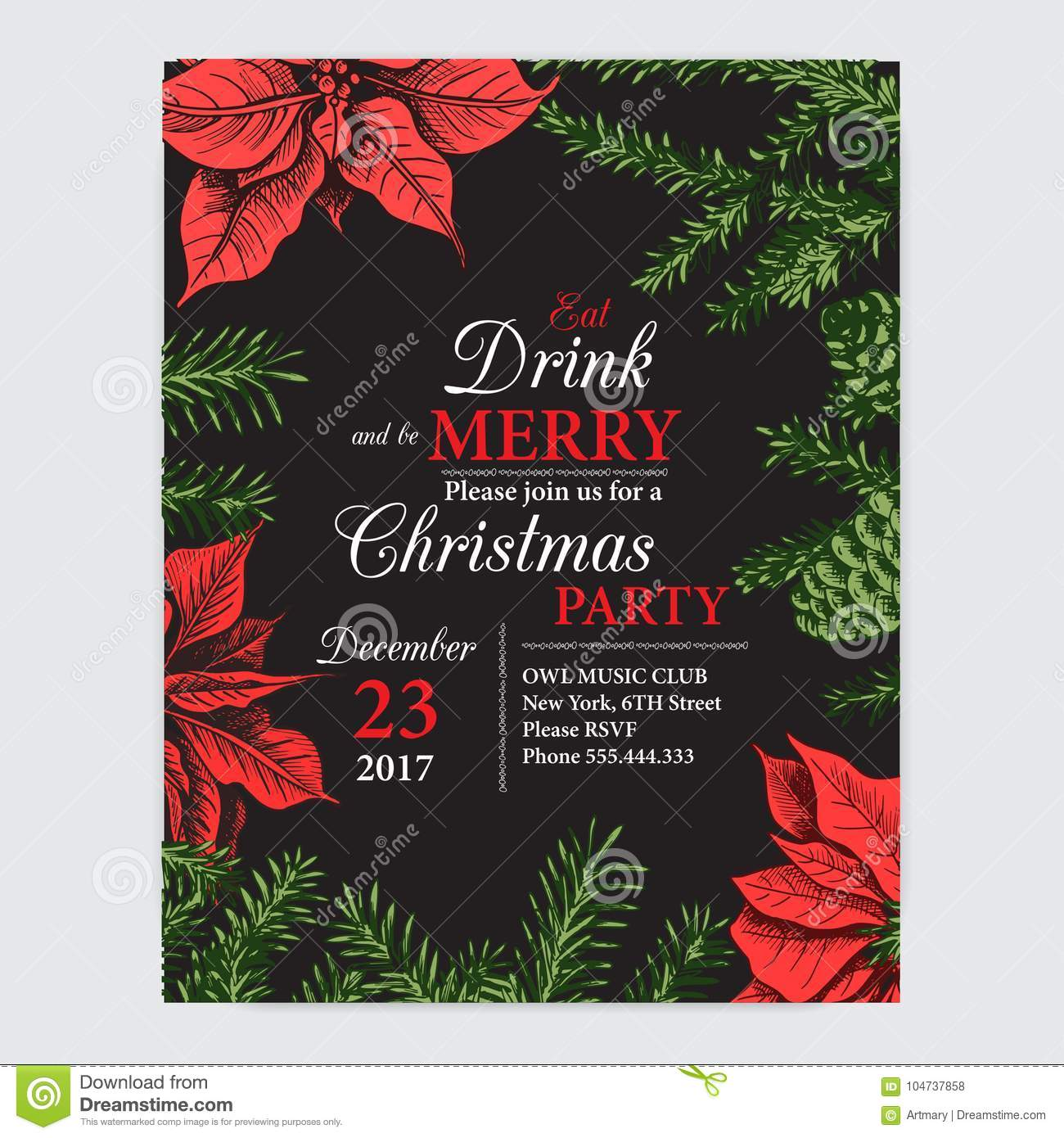 Invitation card for a christmas party design template with xmas download invitation card for a christmas party design template with xmas hand drawn graphic stopboris Image collections
