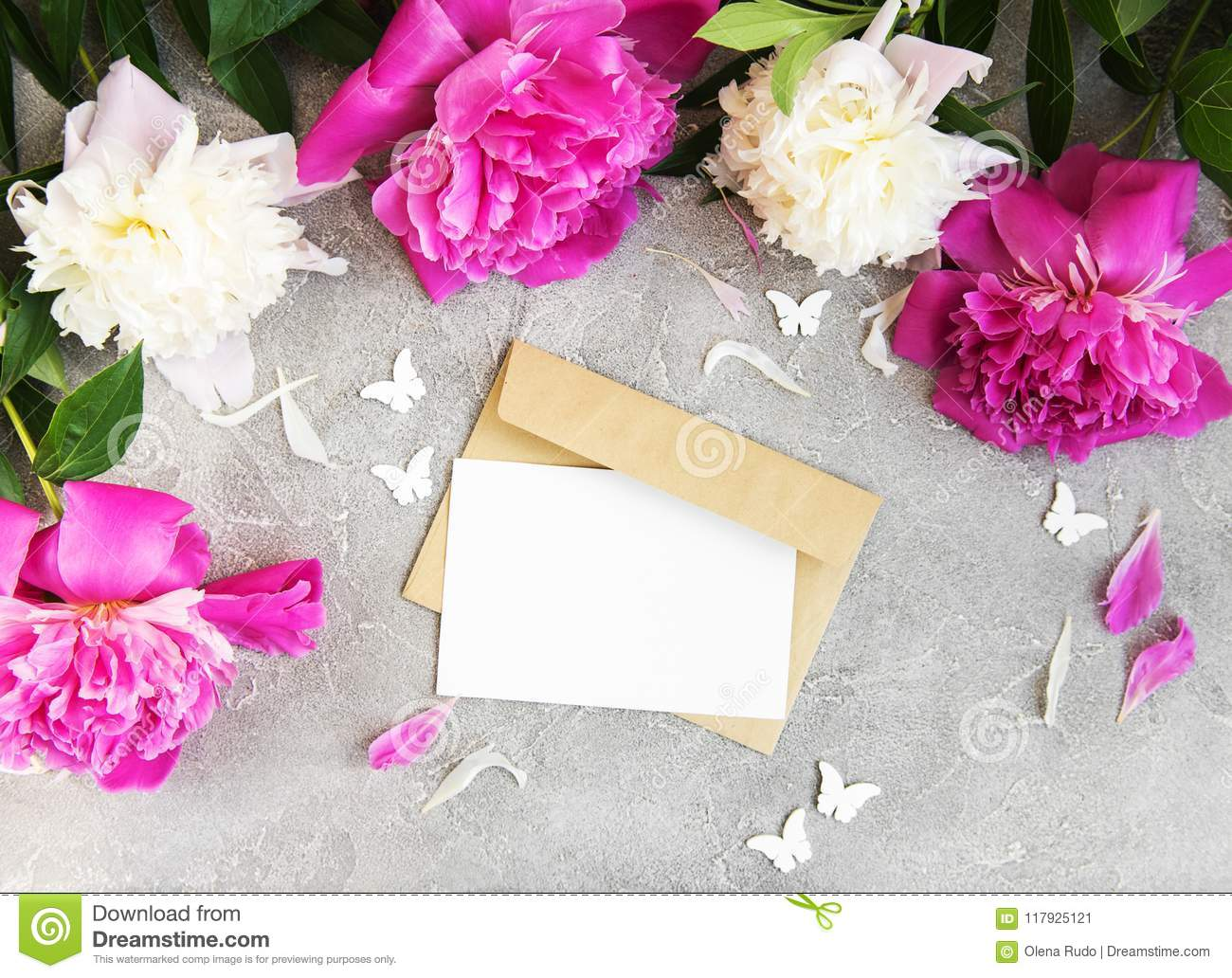Invitation Card Craft Envelope And Pink Peony Flowers Stock Image