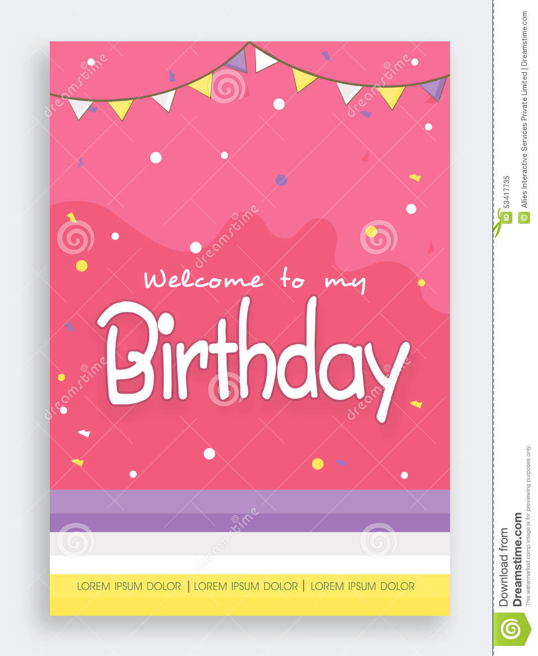 Invitation Card Design For Birthday Party. Stock Image - Image of ...
