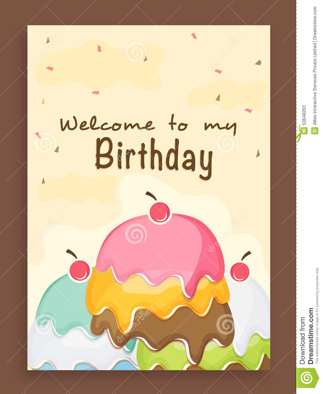 Invitation Card Design For Birthday Party. Stock Photo - Image ...