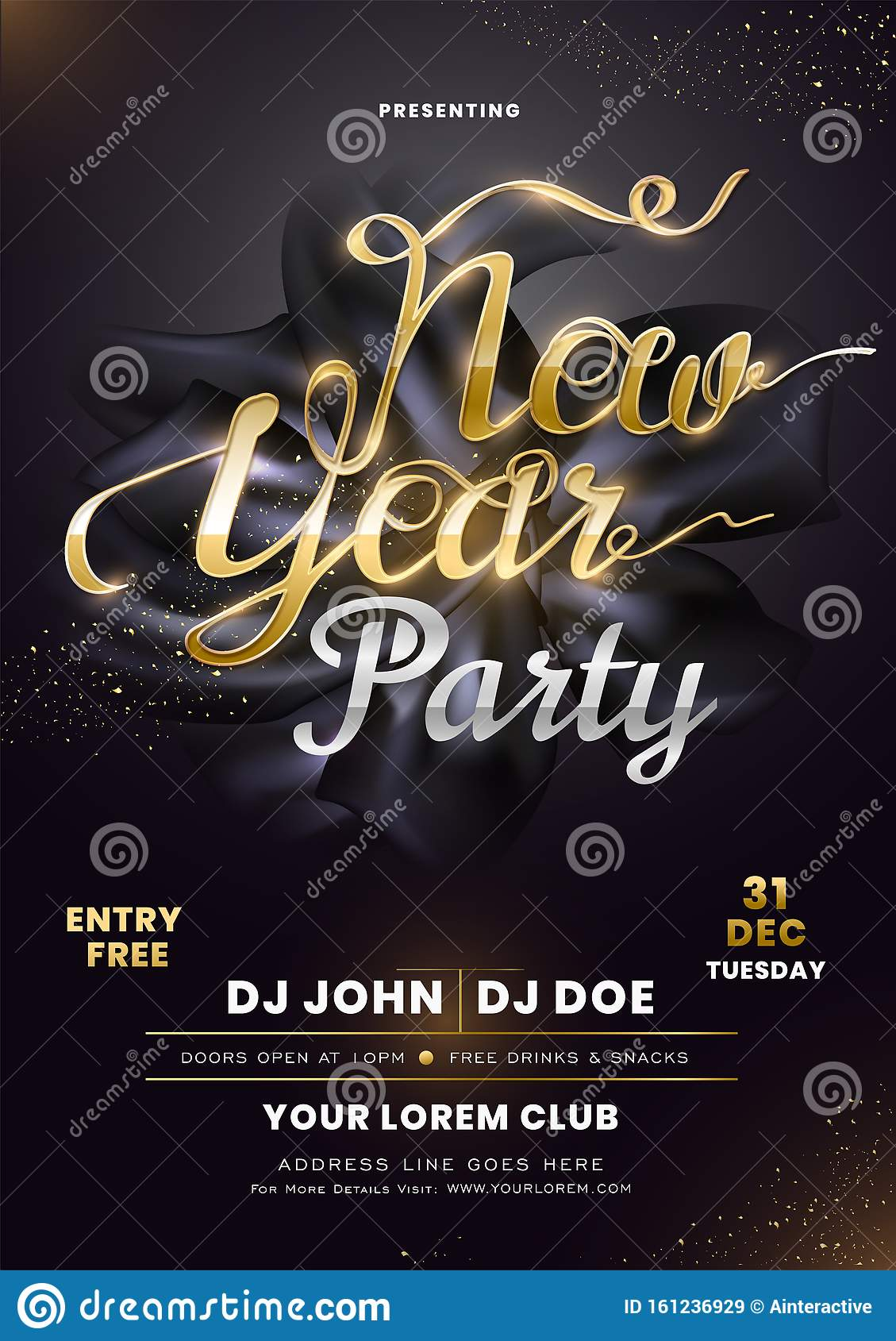 invitation card design with calligraphy new year party on