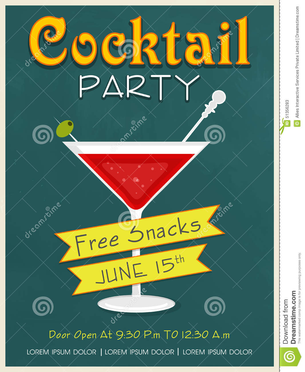Invitation Card Design For Cocktail Party Illustration – Cocktail Party Invitation Cards