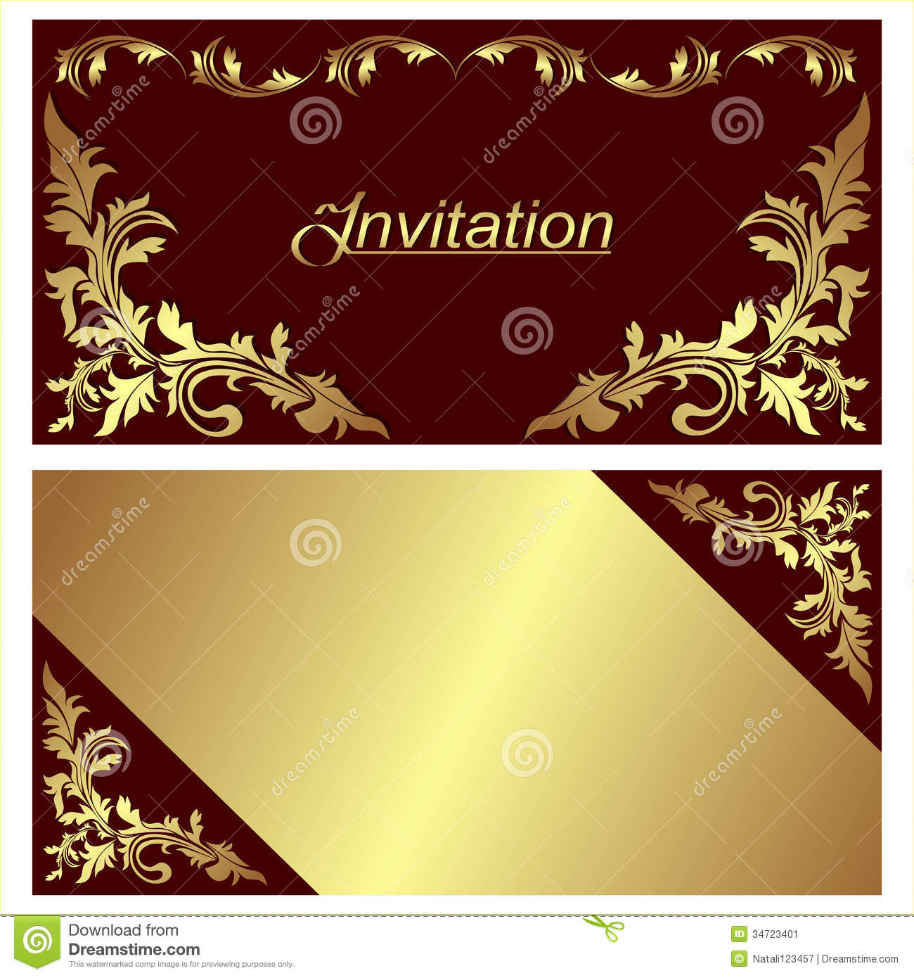 Design House Plans Online India Invitation Card Design With Golden Borders Stock Vector