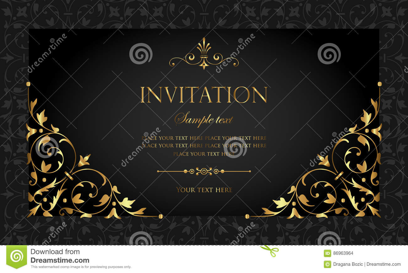 Invitation Card Design Luxury Black And Gold Vintage Style