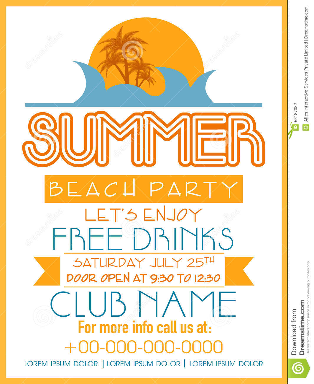 Invitation Card Design For Summer Beach Party. Stock ...