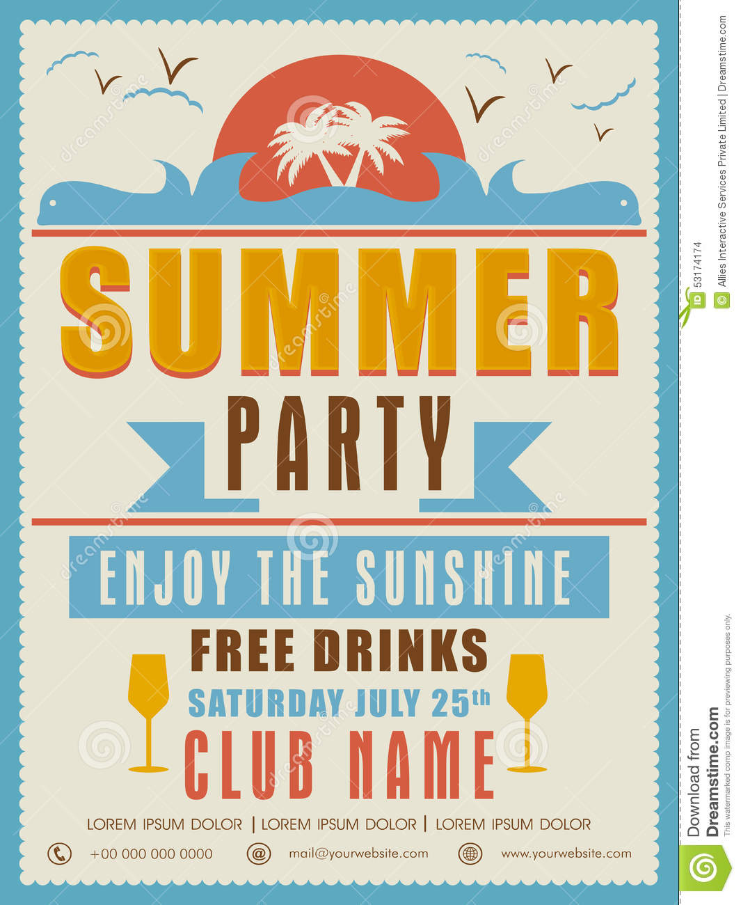 Invitation Card Design For Summer Party Photo Image 53174174 – Party Invitation Card Design