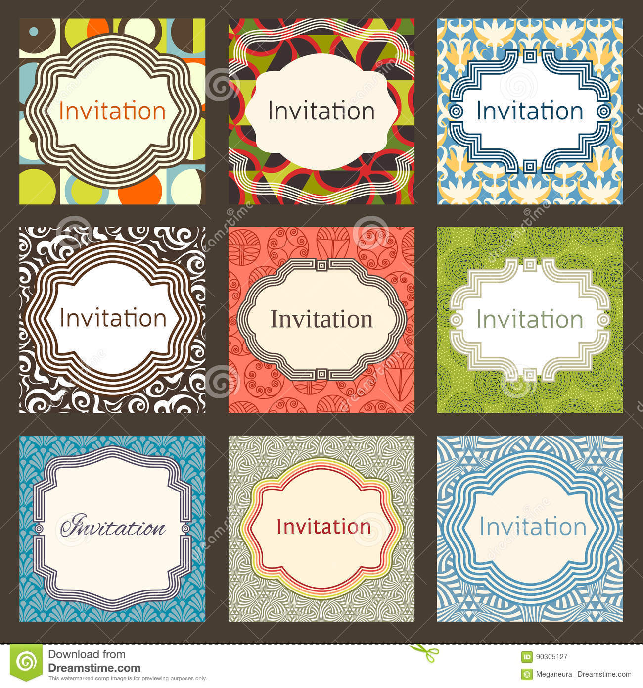 Invitation Card Design Template Set Editable Layout For Birthday Party Wedding Baby Shower Valentines Day Trendy Geometric Memphis Style
