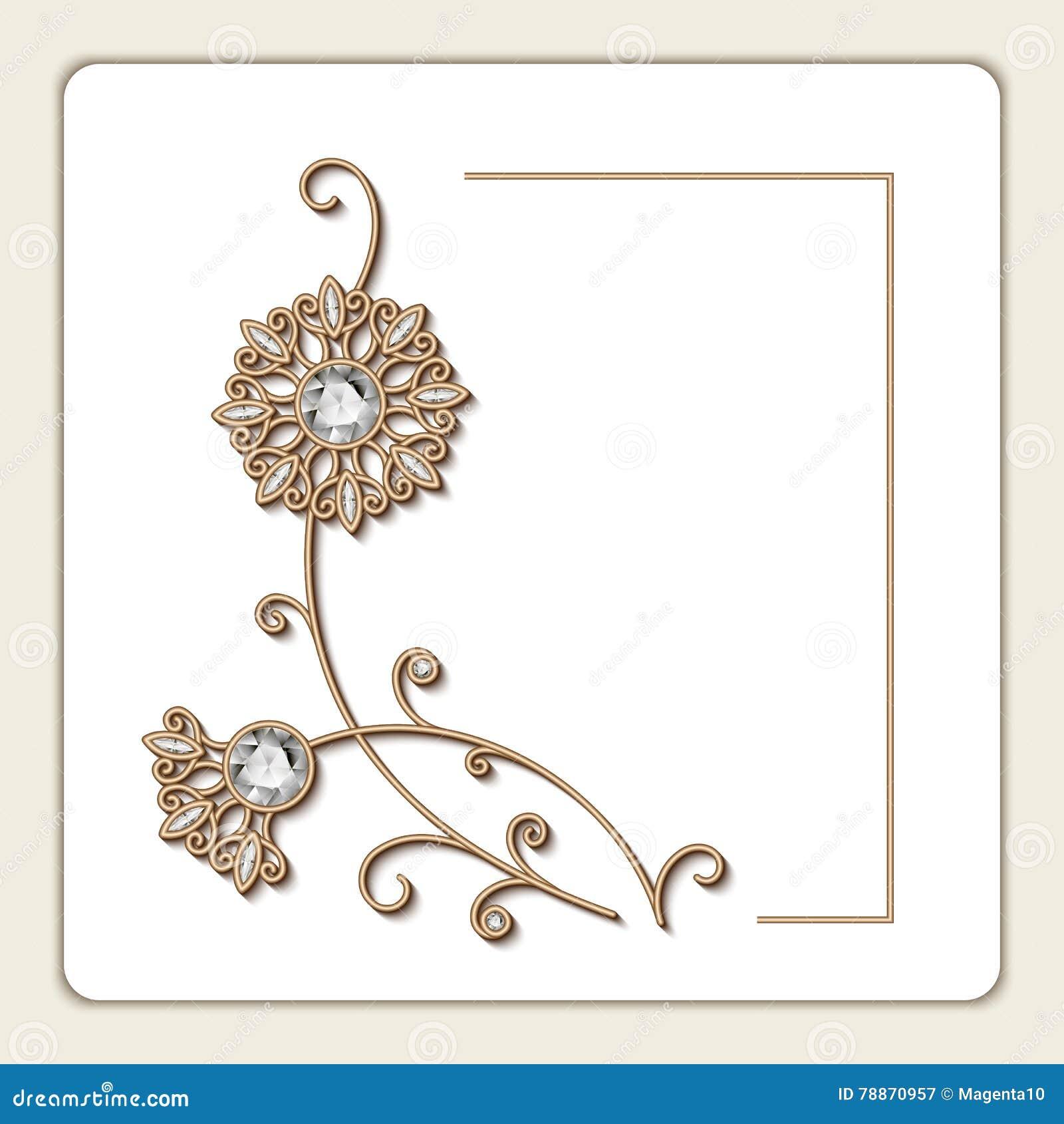 Invitation Card With Diamond Jewelry Flowers Stock Vector
