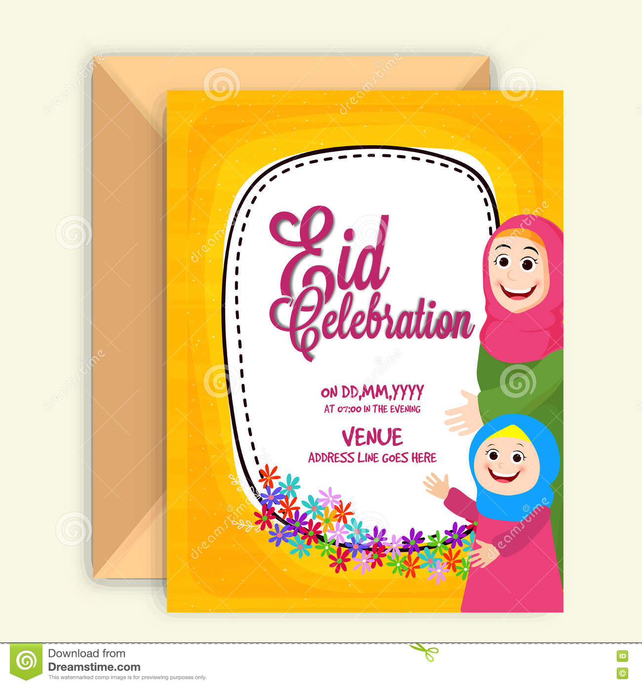 Invitation card for eid mubarak stock illustration illustration invitation card for eid mubarak stopboris Images