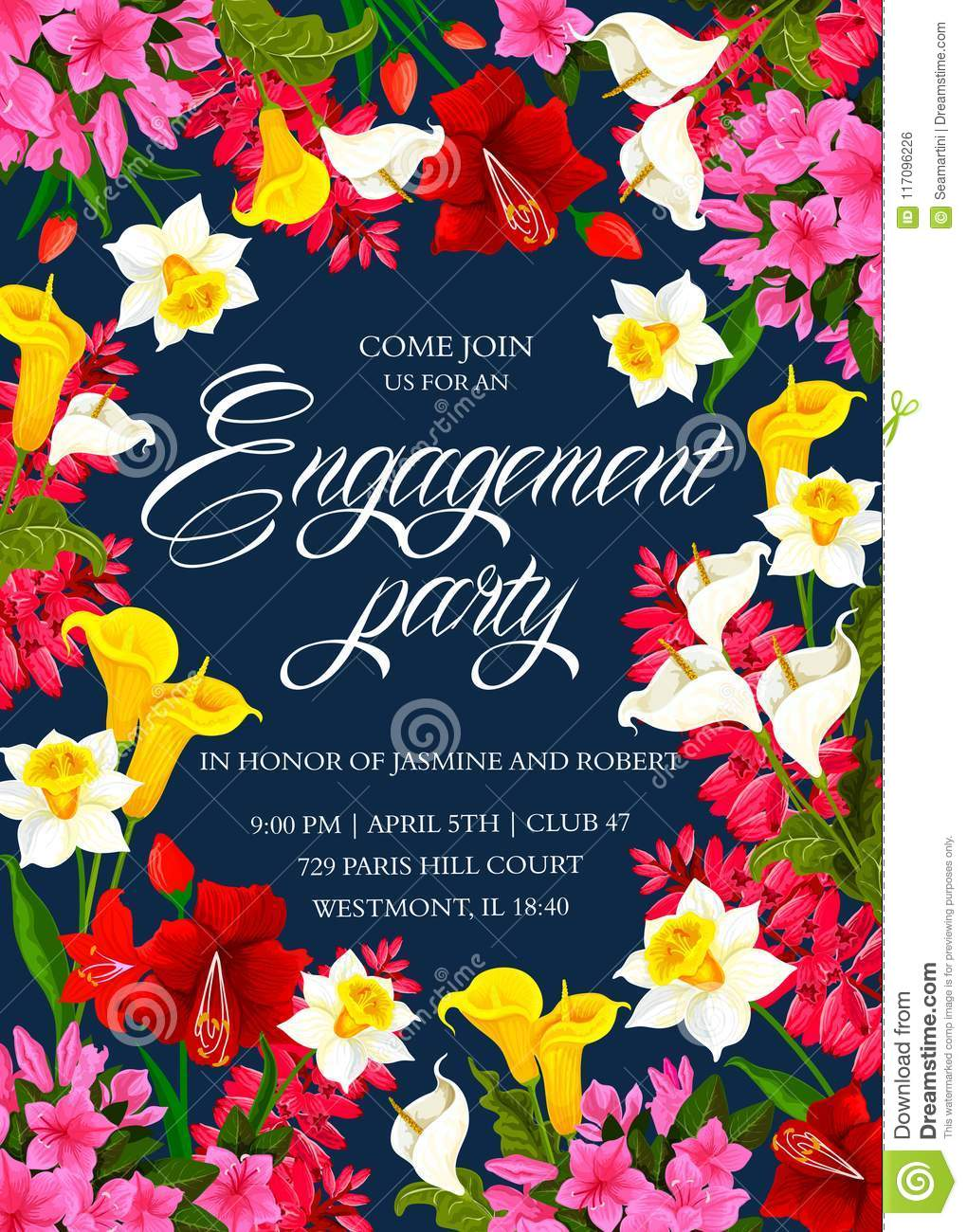 Invitation Card For Engagement Party Stock Vector