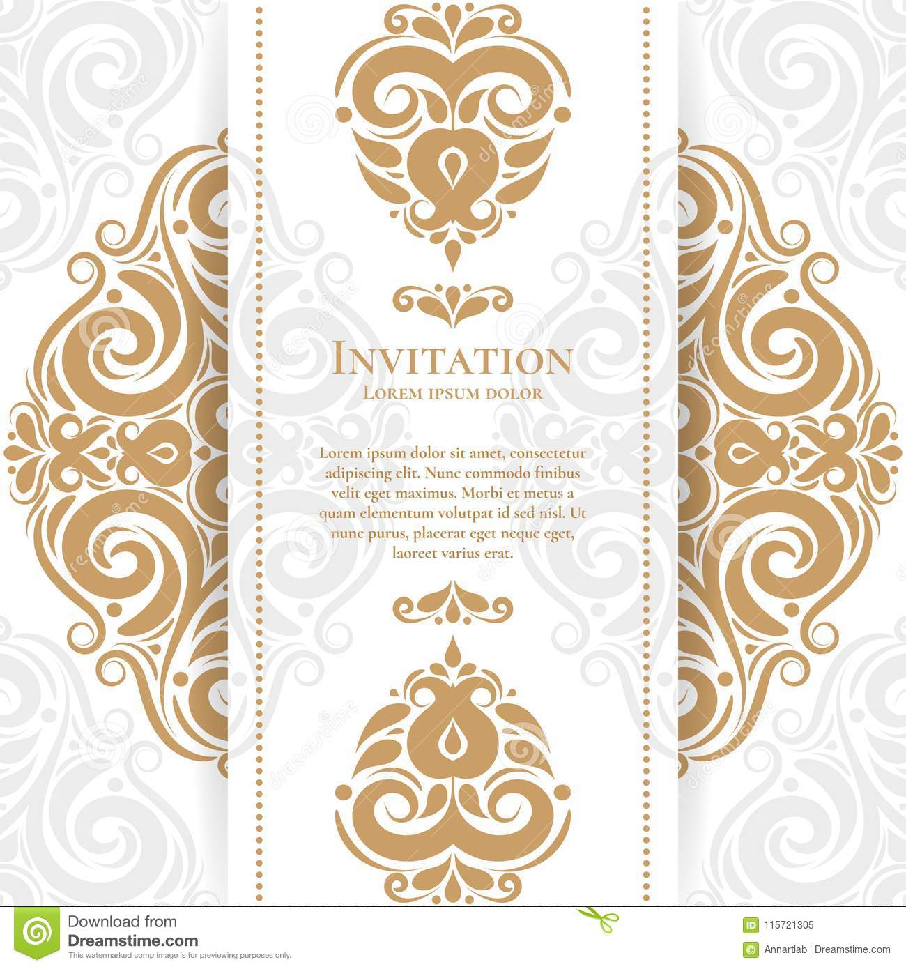 Invitation Card With Floral Ornament Stock Vector