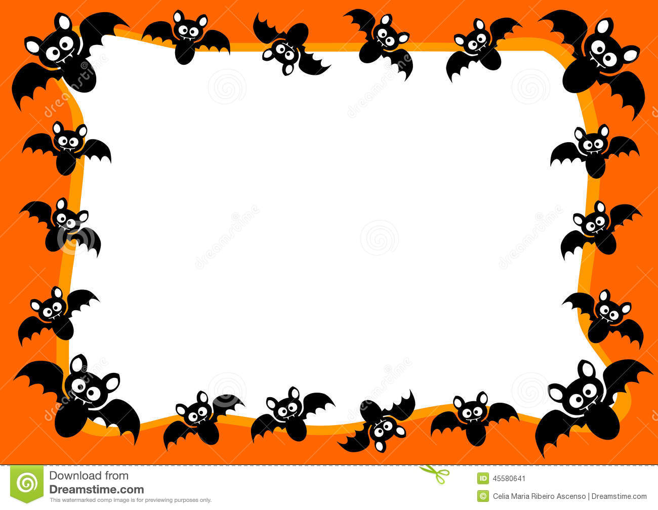 Halloween Invitation Card Flying Bats Frame Stock Illustration ...