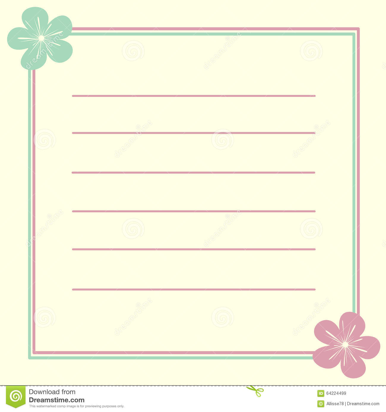 invitation card frame with cute lovely flowers illustration background