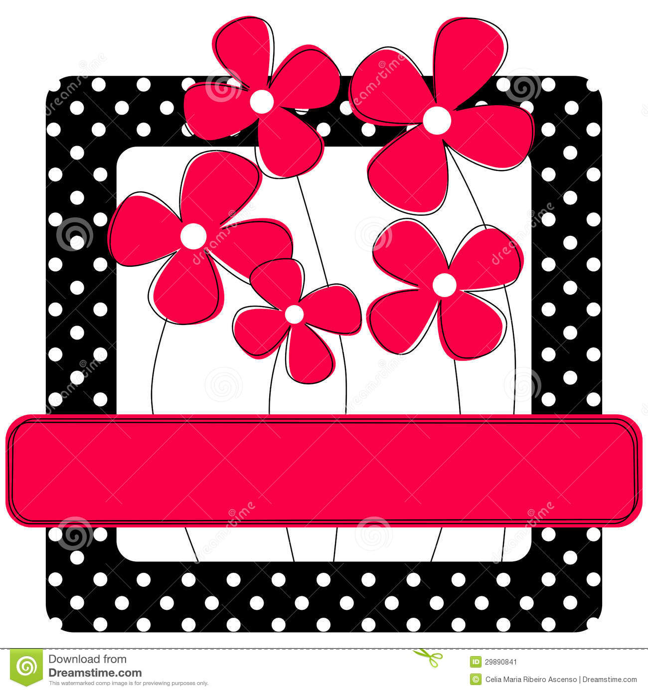 Polka Dots Frame With Flowers Stock Illustration