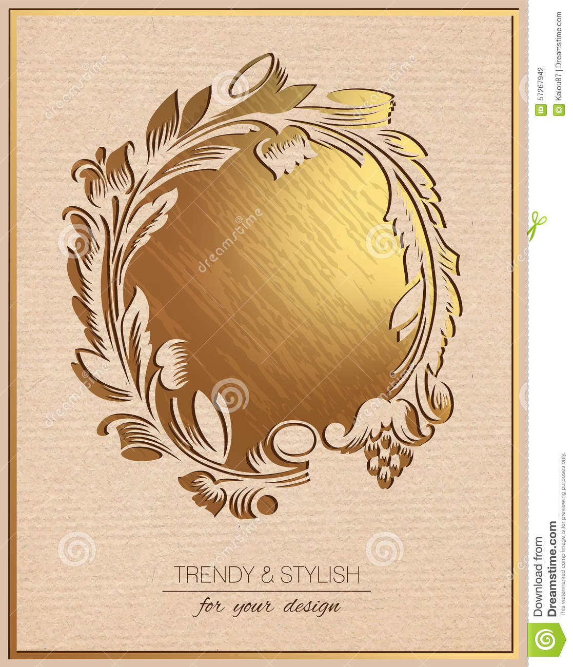 Invitation Card With Gold Floral Ornament Template Frame