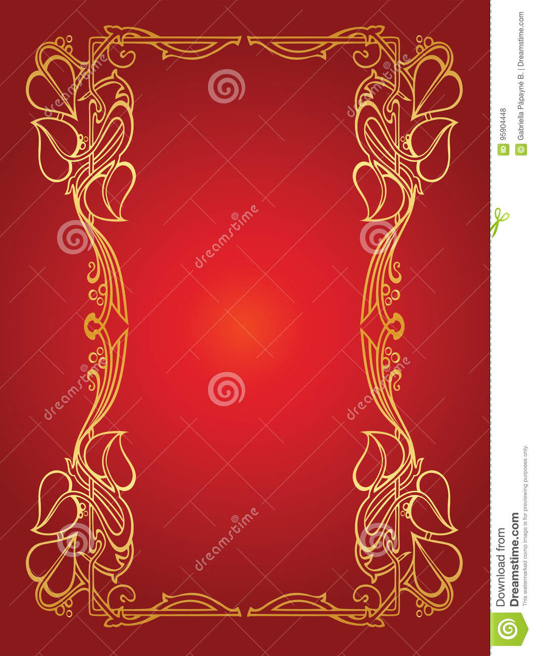 Invitation Card With Gold Flower Wedding Garland In Art Nouveau ...