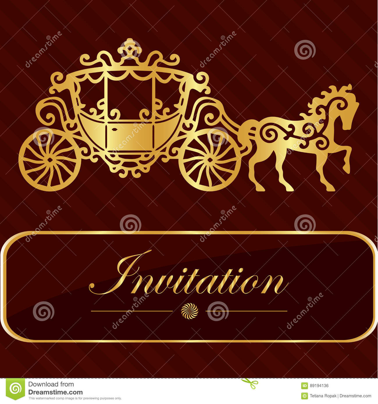 Invitation Card With Golden Lettering Vintage Horse Carriage Design Good Idea For Template