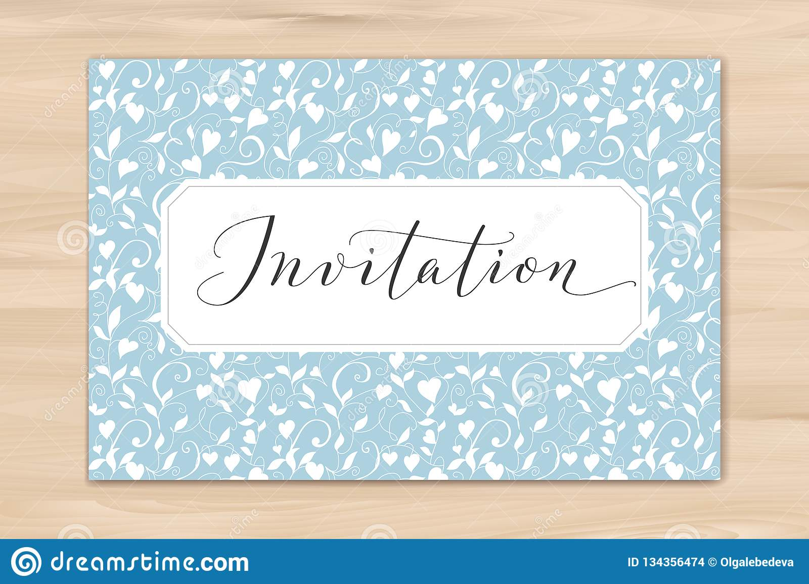 Invitation Card With Hand Written Custom Calligraphy And Hearts