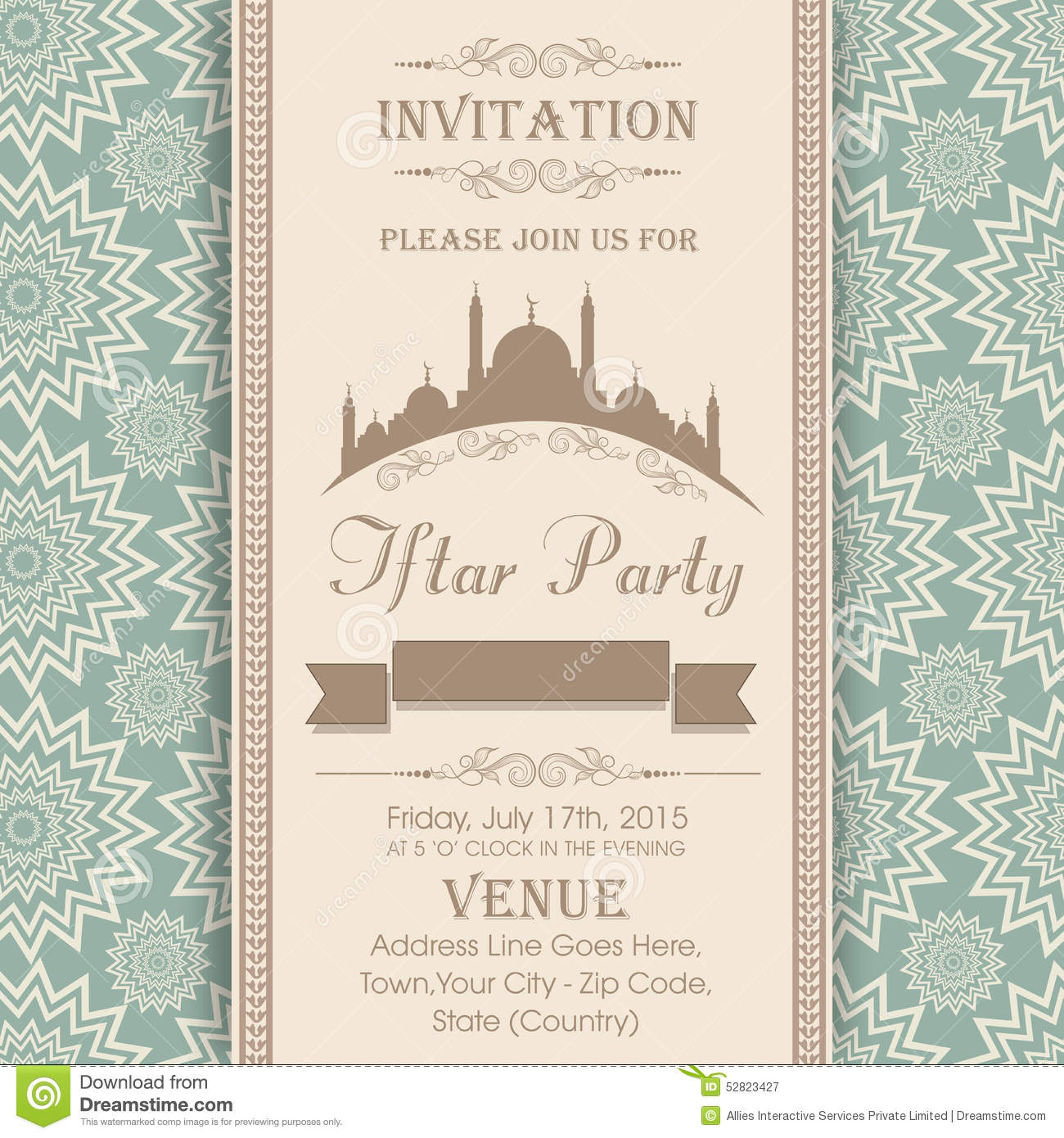 Invitation Card For Holy Month Ramadan Kareem Iftar Party