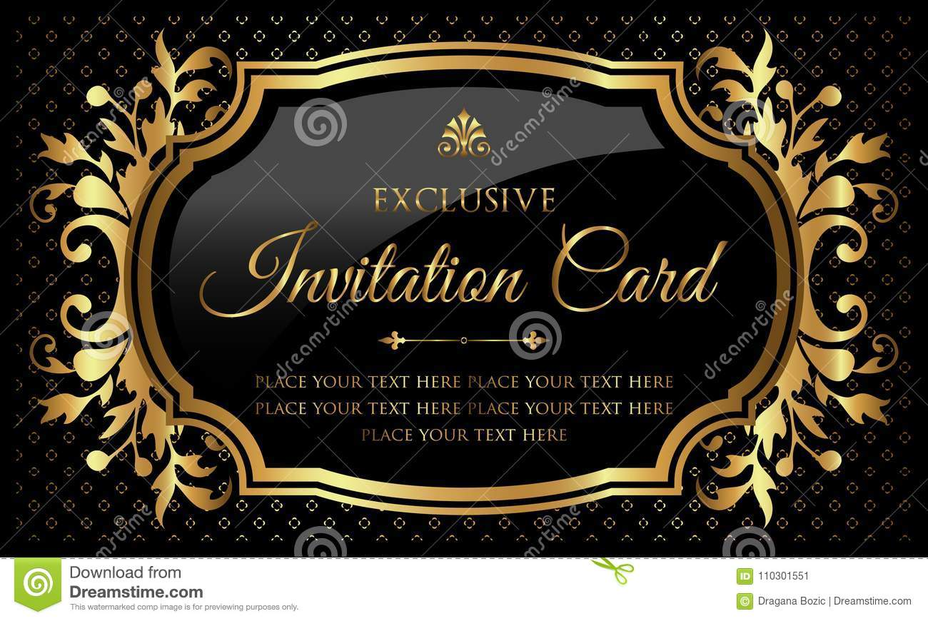 Invitation Card - Luxury Black And Gold Design In Vintage Style Stock  Vector - Illustration of congratulations, floral: 110301551