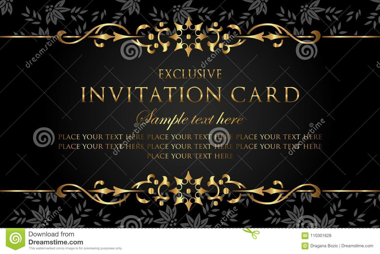 Invitation card - luxury black and gold vintage style