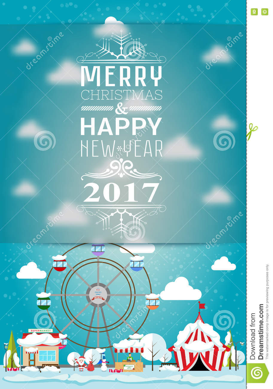 invitation card merry christmas and happy new year 2017 on fair