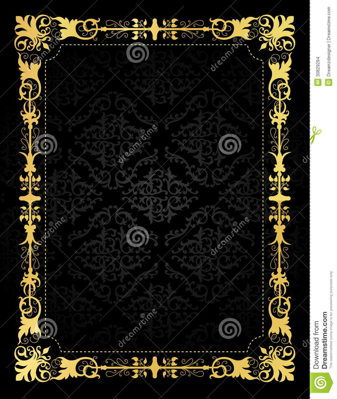 Invitation Card Ornamental Frame And Damask Backgr Stock Vector ...