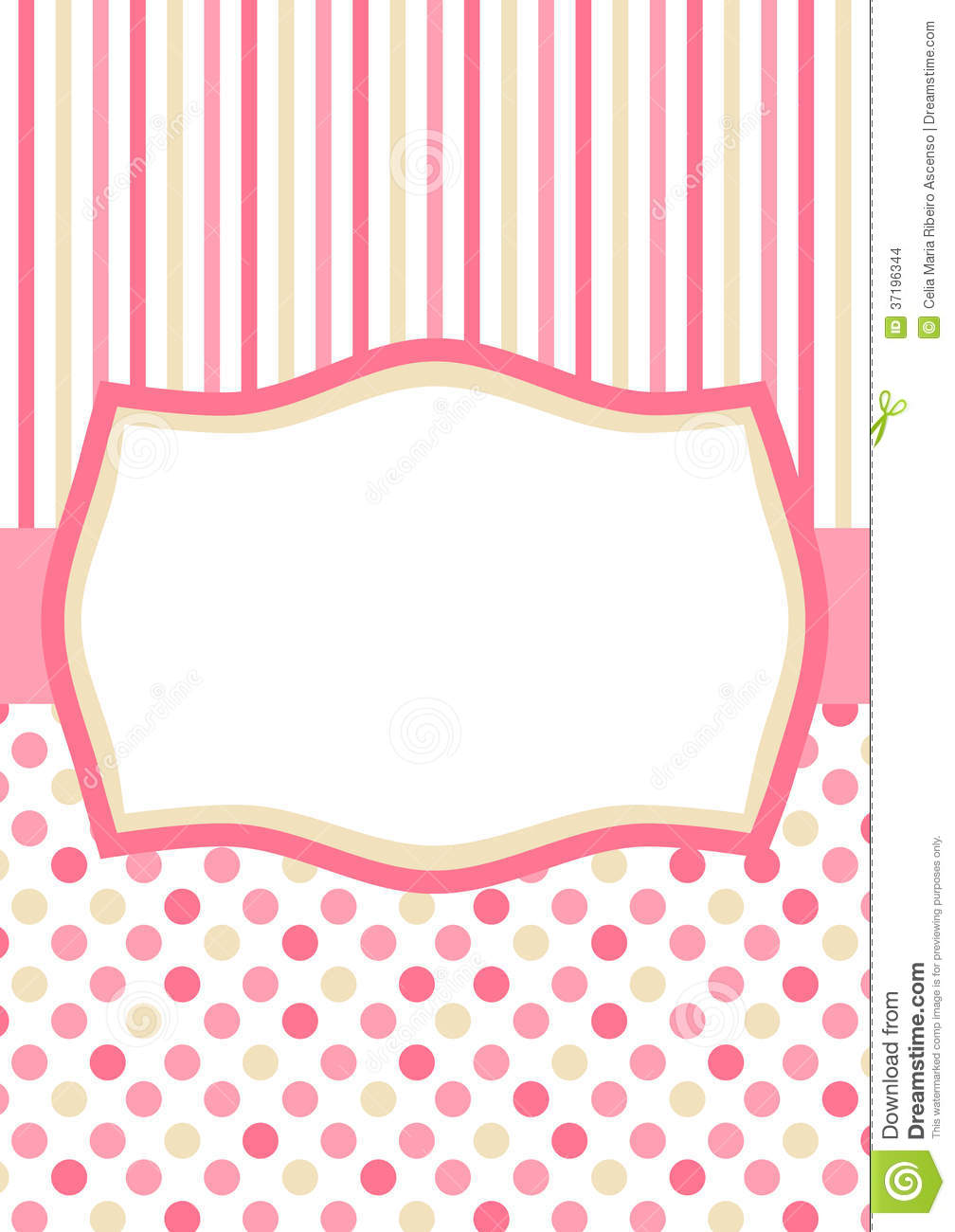 Invitation Card With Pink Polka Dots And Stripes Stock