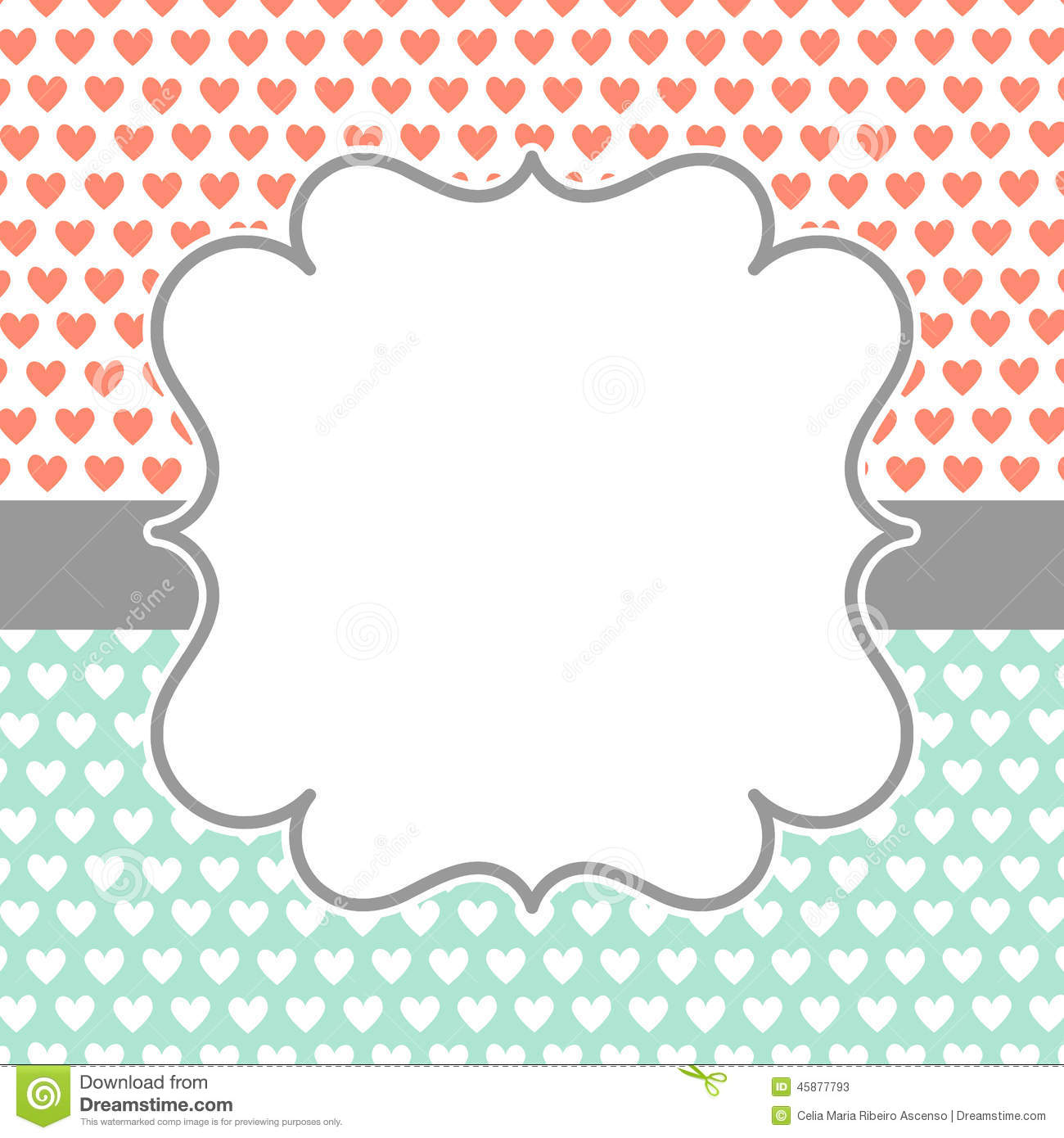 Invitation Card with polka hearts and frame