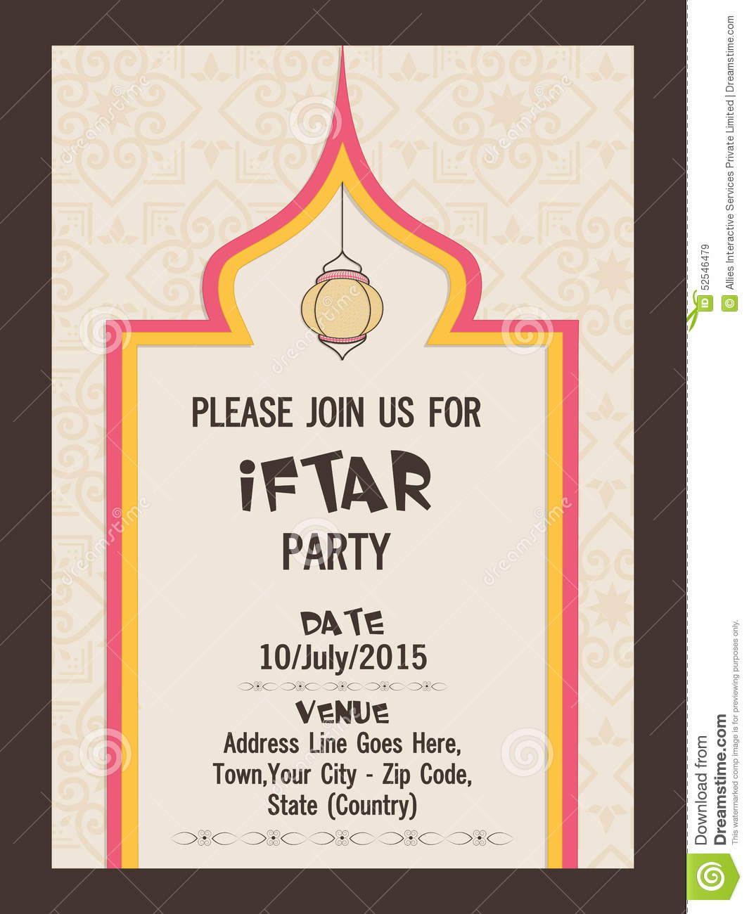 Invitation Card For Ramadan Kareem Iftar Party Celebration ...