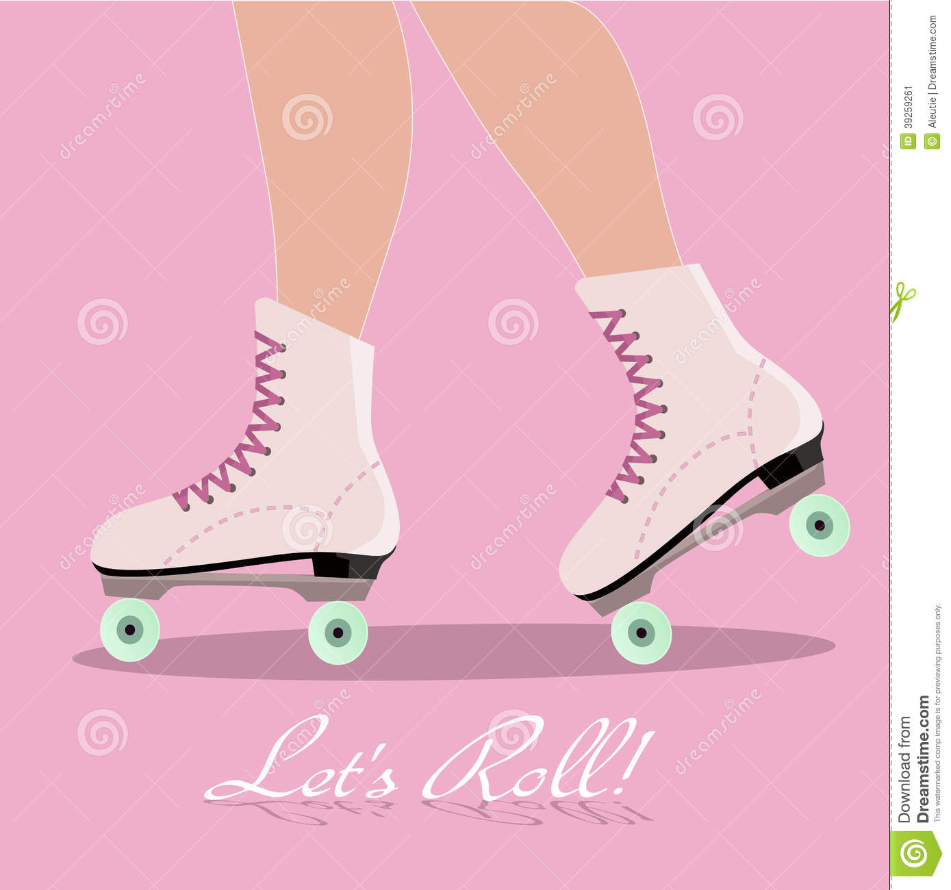 Invitation Card With Roller Skates Stock Vector Illustration Of