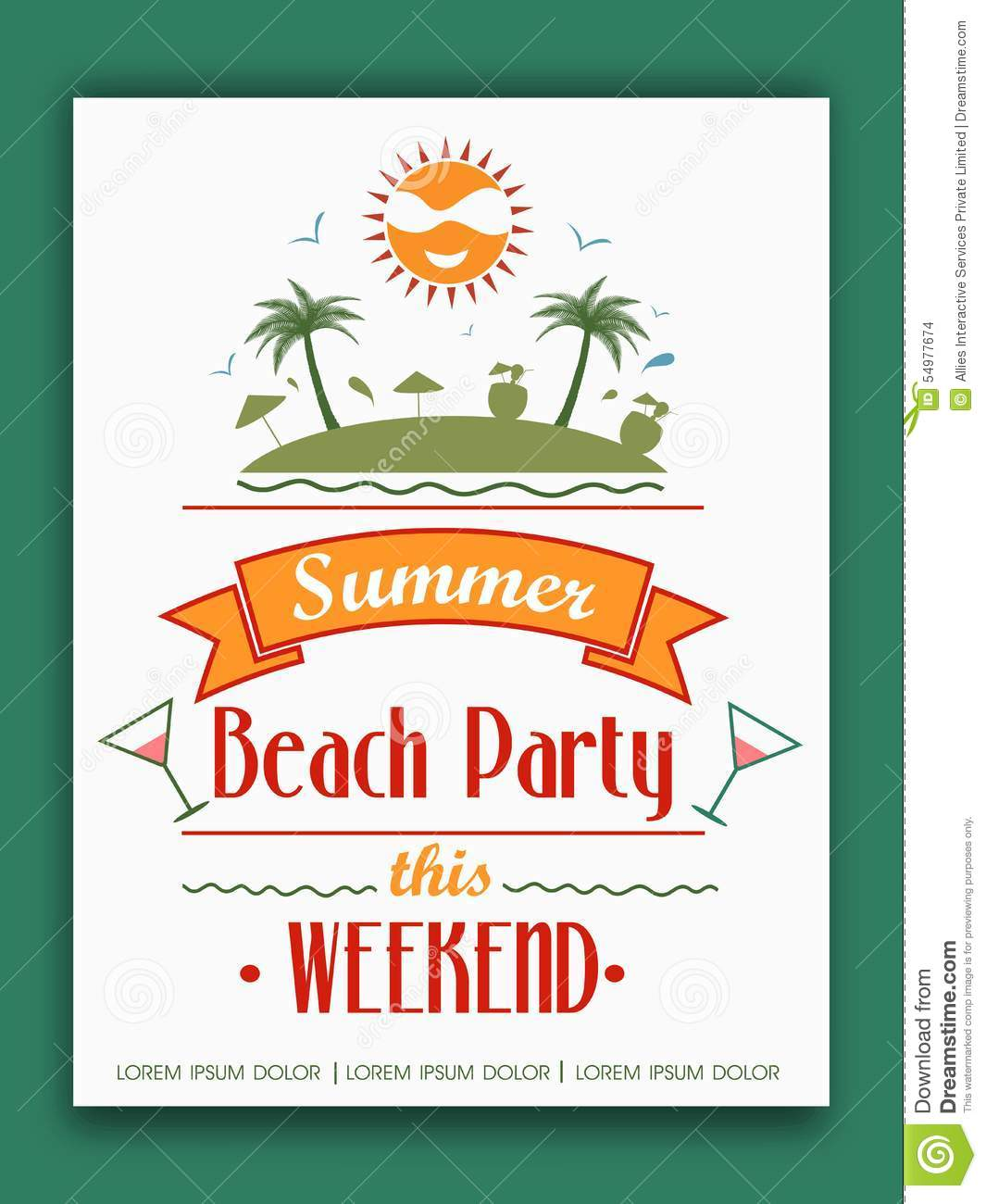 Invitation Card For Summer Beach Party. Stock Illustration ...