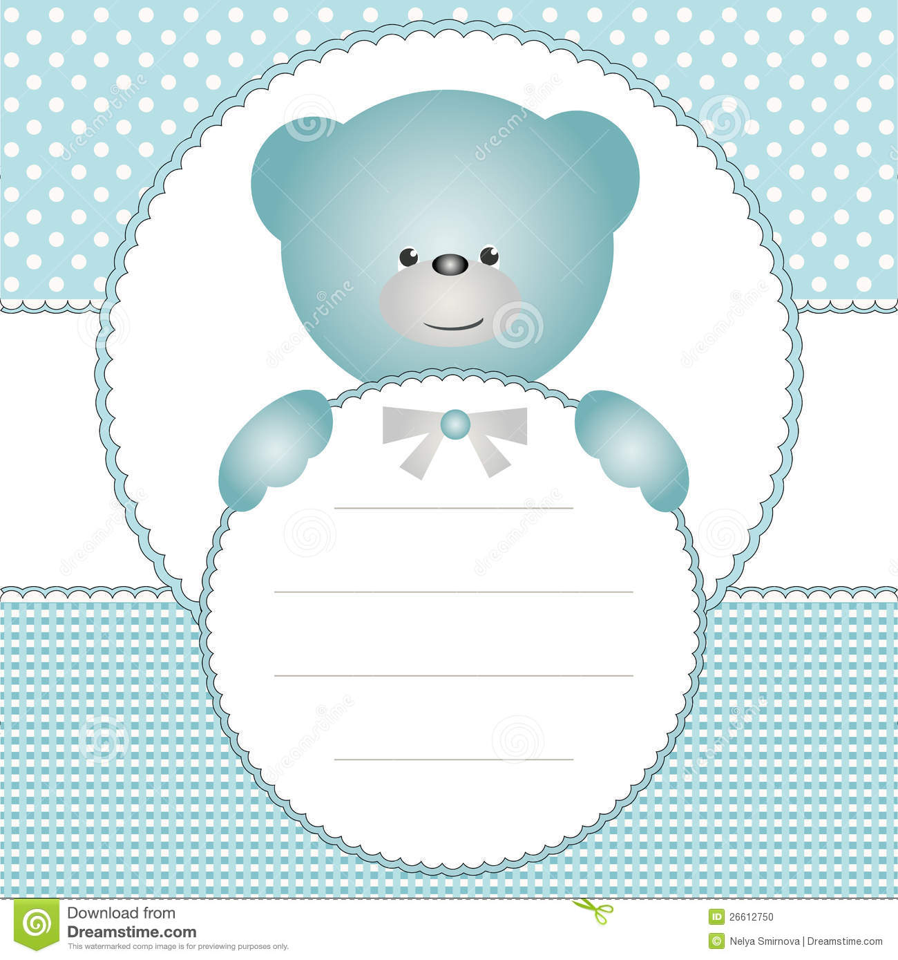 Invitation Card With Teddy Bear Stock Vector Illustration of