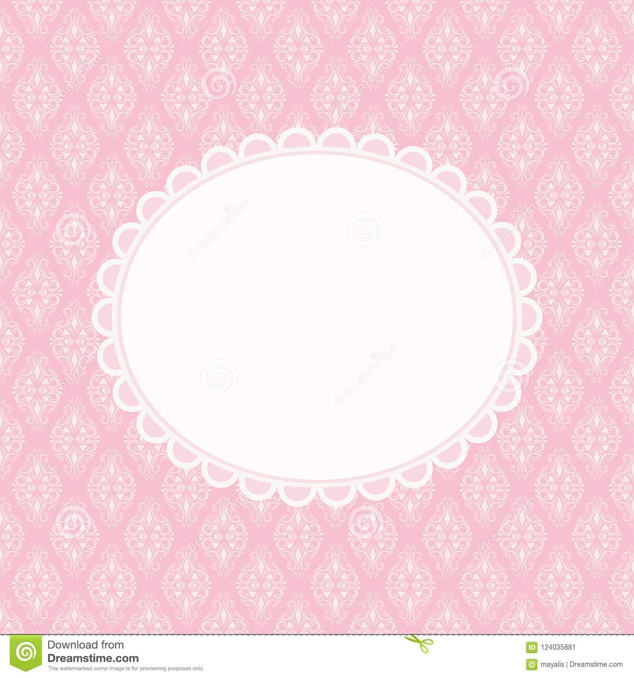 Invitation Card With Blank Space For Text On Pink Damask