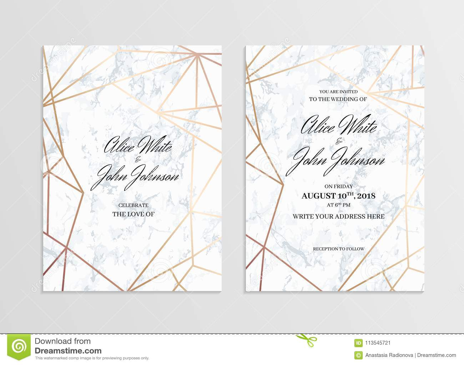 Invitation Card Template Of Geometric Design Stock Vector