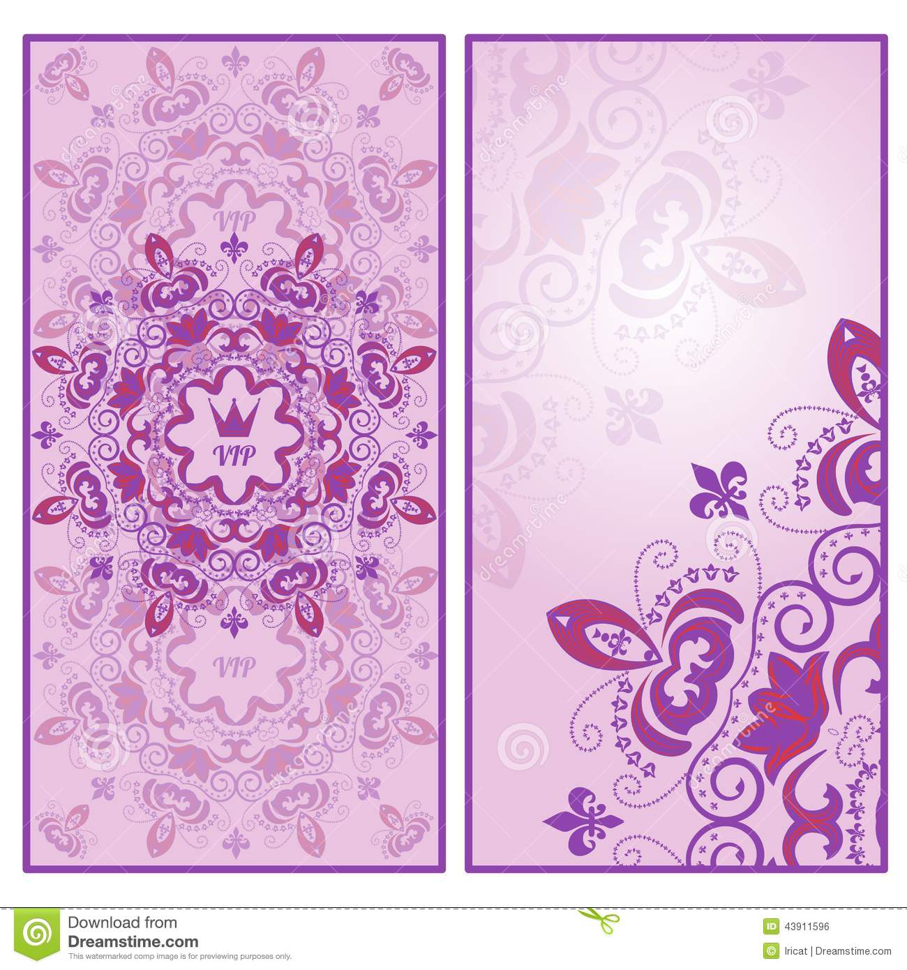 Invitation Card Template With Lilac Lace Floral Ornament