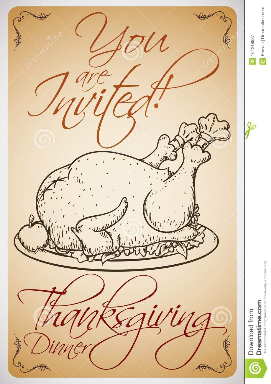 invitation with turkey in hand drawn style for thanksgiving dinner