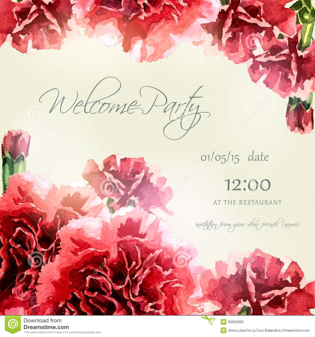 Invitation Card With Watercolor Carnation Frame Illustration ...