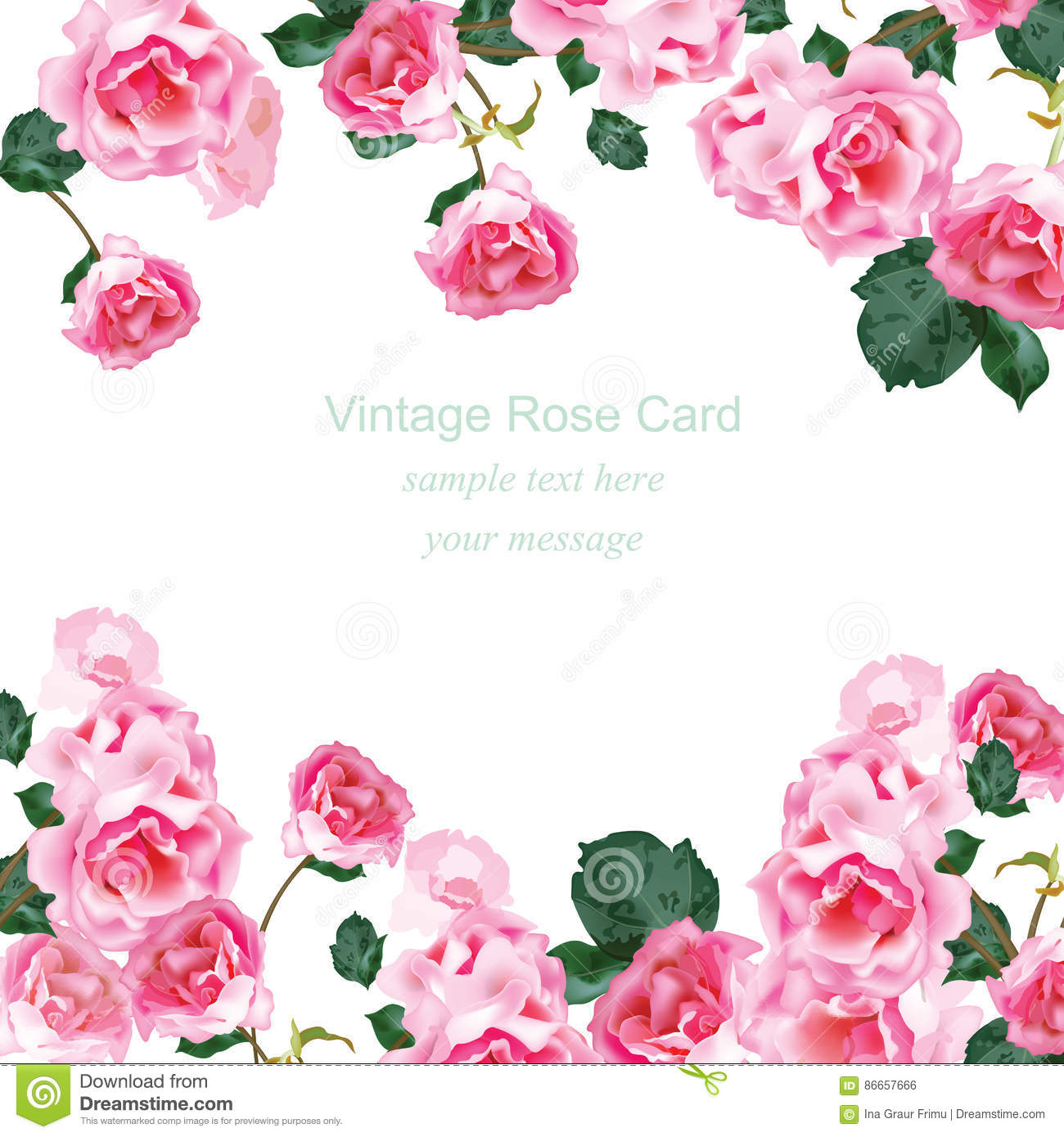 Invitation card with Watercolor Vintage roses bouquet Vector. Floral pink decor for greetings, wedding, birthday and