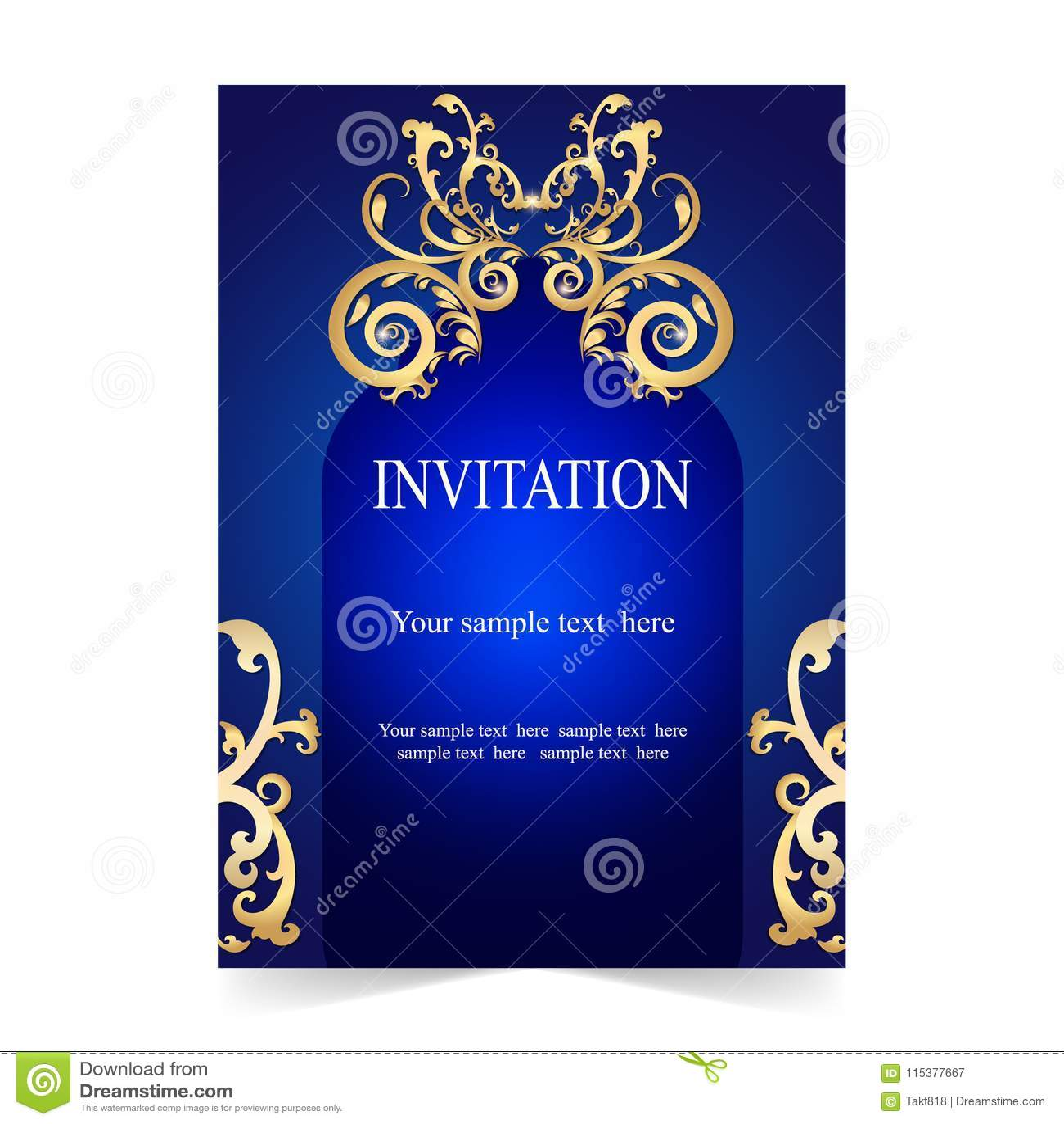 Invitation Card Wedding Card Blue Background Stock Vector