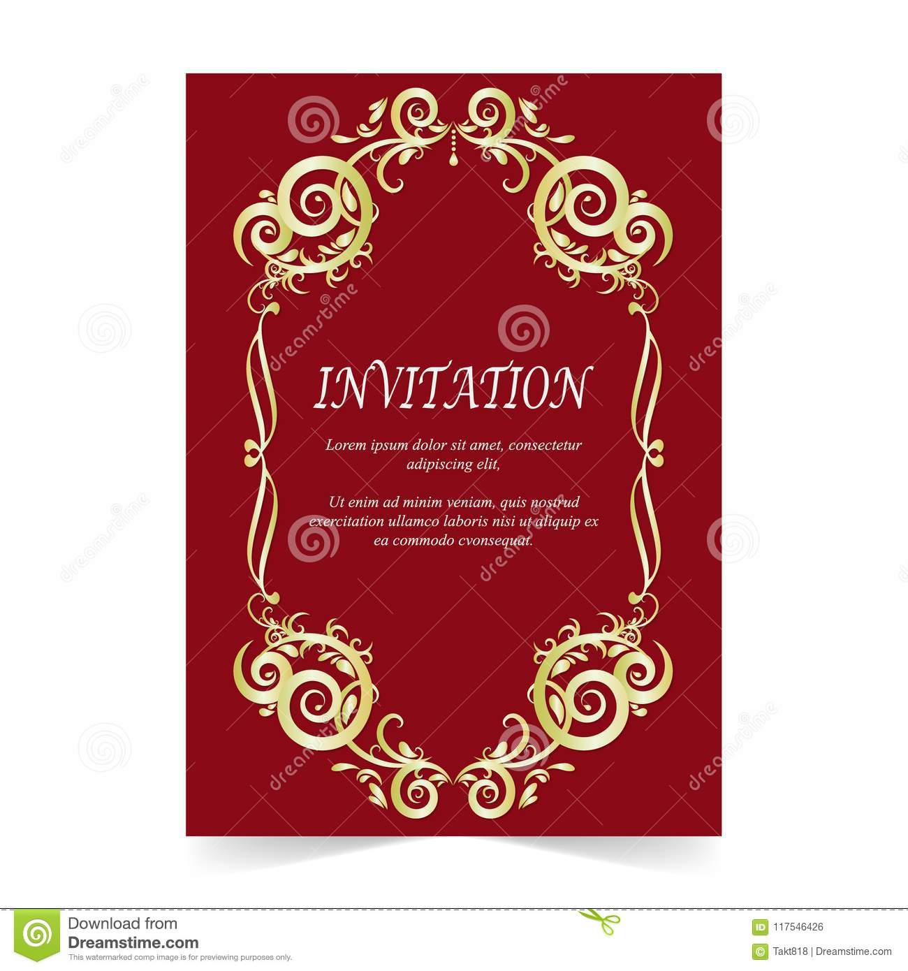 Invitation Card, Wedding Card Ornament On Red Background Stock ...