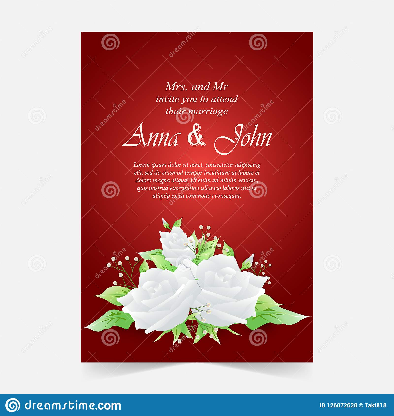 Invitation Card, Wedding Card With White Rose Background Stock ...