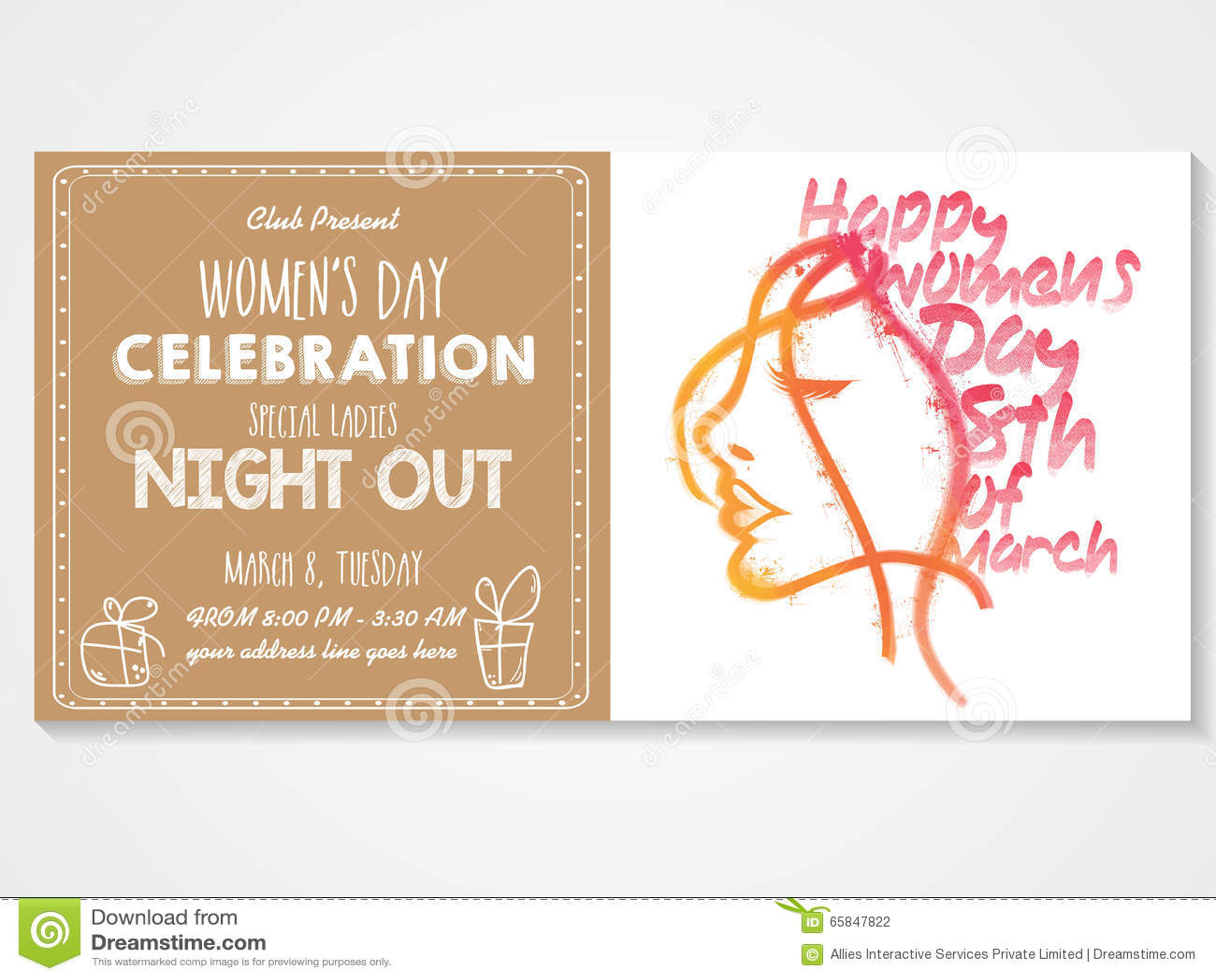 Invitation Card For Women's Day Celebration. Stock ...