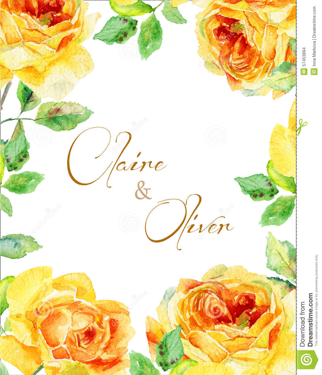 invitation card yellow watercolor roses vintage floral