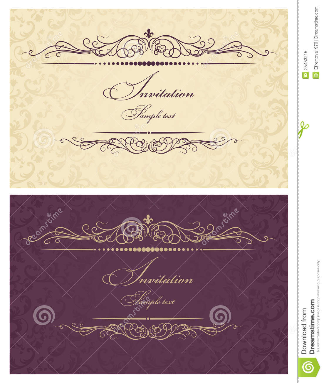 Invitation Cards Gold And Burgundy Royalty Free Stock Photo - Image ...