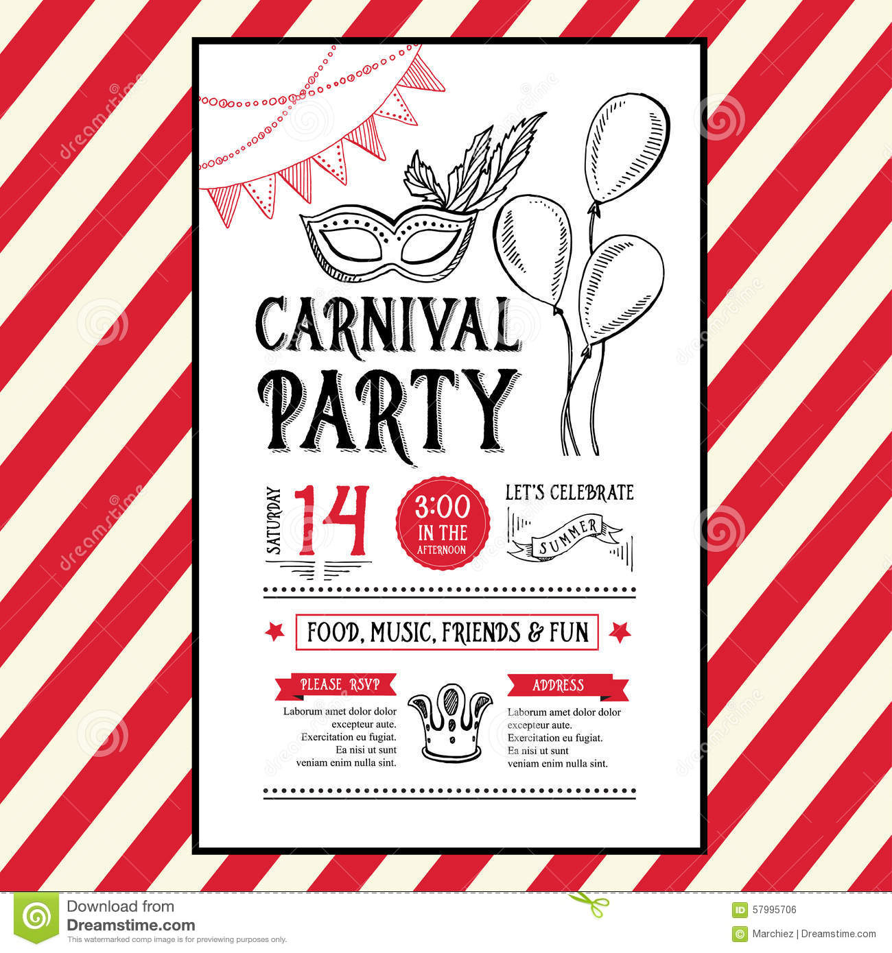 Invitation Carnival Party Flyer Typography And Design Stock