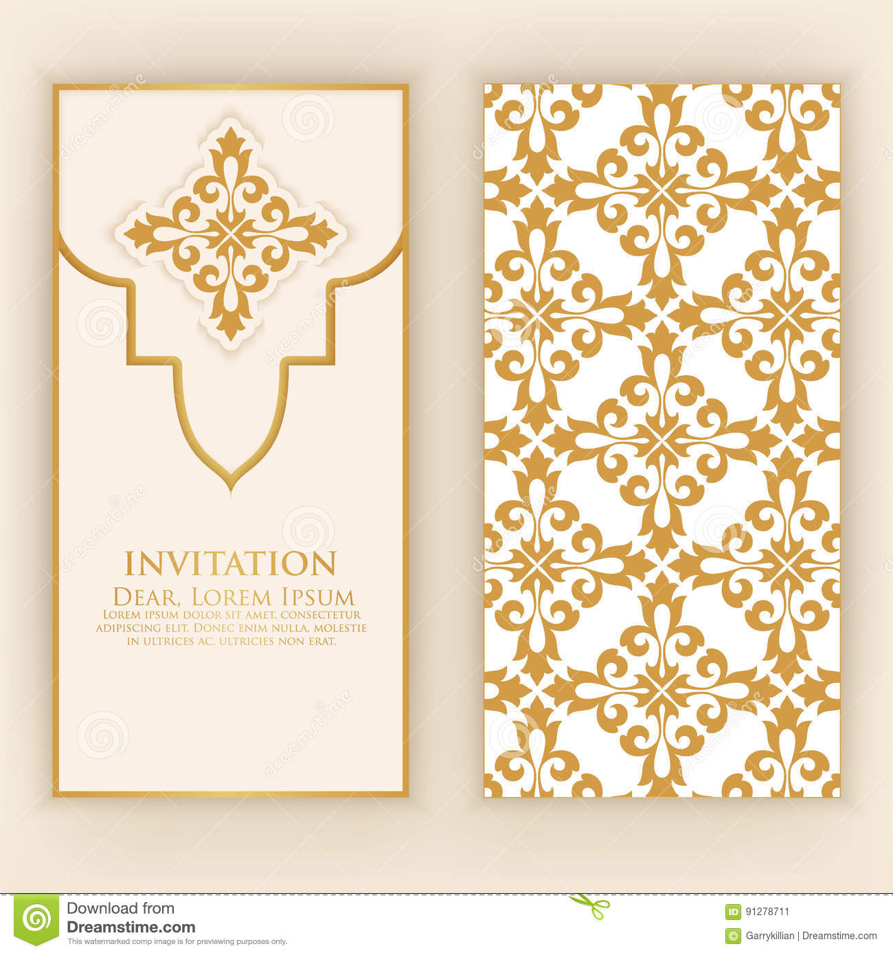 Invitation Cartes Avec La Damasse Ethnique Ou Elements Darabesque Conception Abstraite De Style Visite Professionnelle