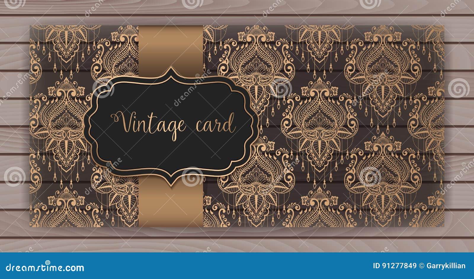Invitation Cartes Avec Le Fond De Damass Conception Style D Arabesque Sur
